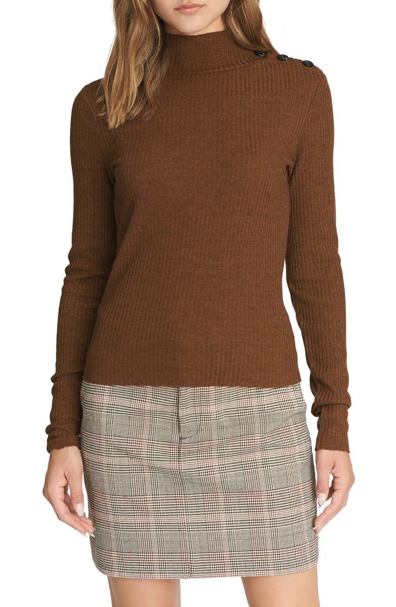 SANCTUARY Mandy Button Detail Mock Turtleneck Sweater, Main, color, HEATHER EARTHSTONE