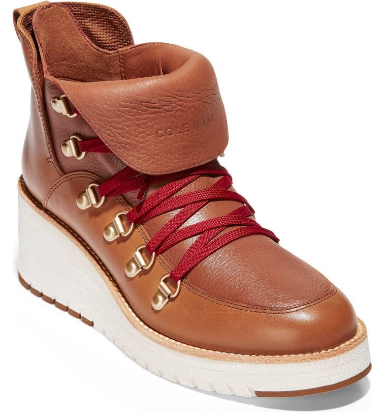 COLE HAAN ZeroGrand Waterproof Wedge Hiker Boot, Main, color, ACORN LEATHER