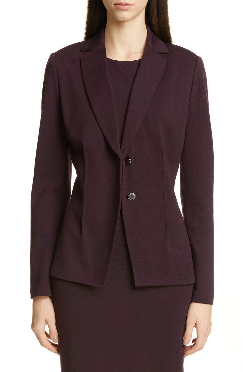 ST. JOHN COLLECTION Pintuck Milano Knit Jacket, Main, color, RAISIN