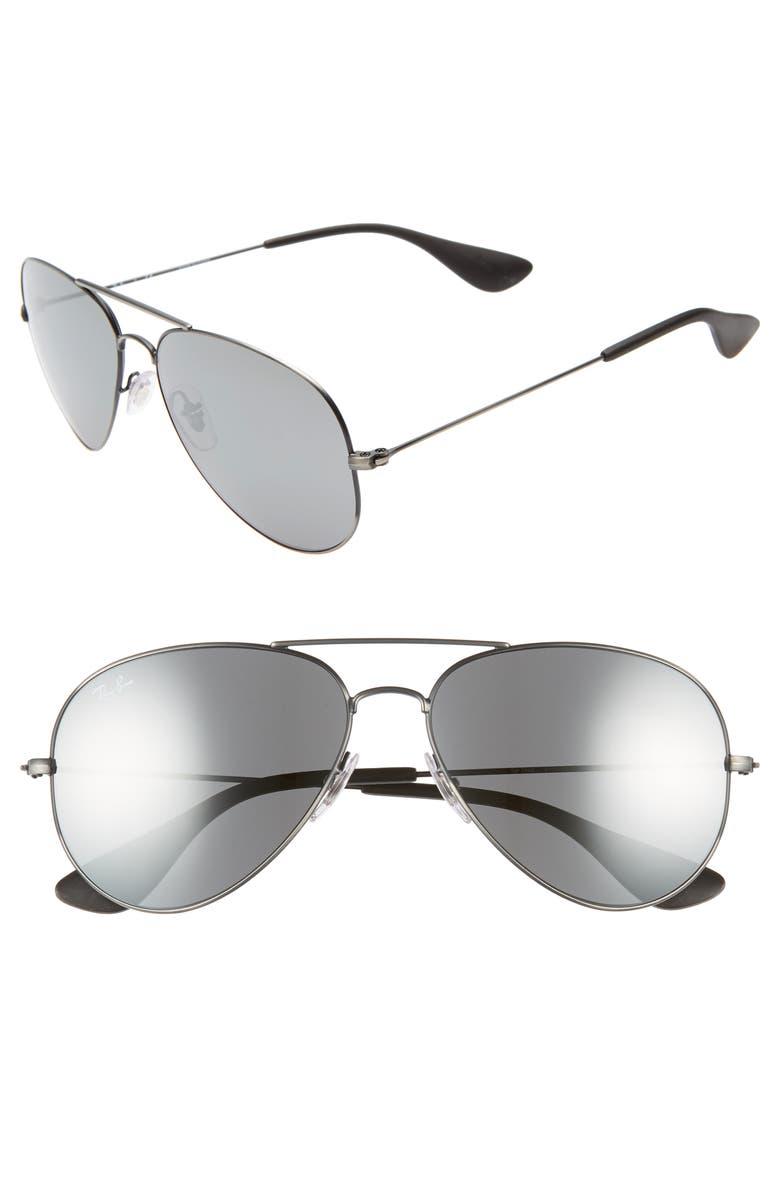 RAY-BAN Pilot 58mm Sunglasses, Main, color, MATTE BLACK
