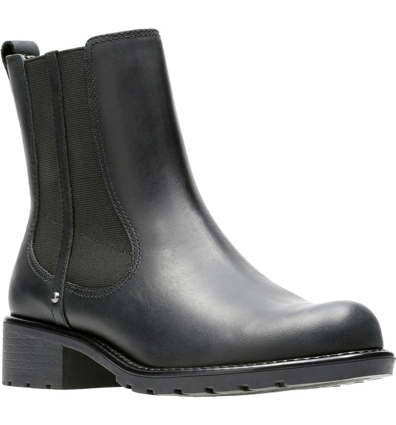 CLARKS<SUP>®</SUP> Orinoco Chelsea Boot, Main, color, BLACK LEATHER