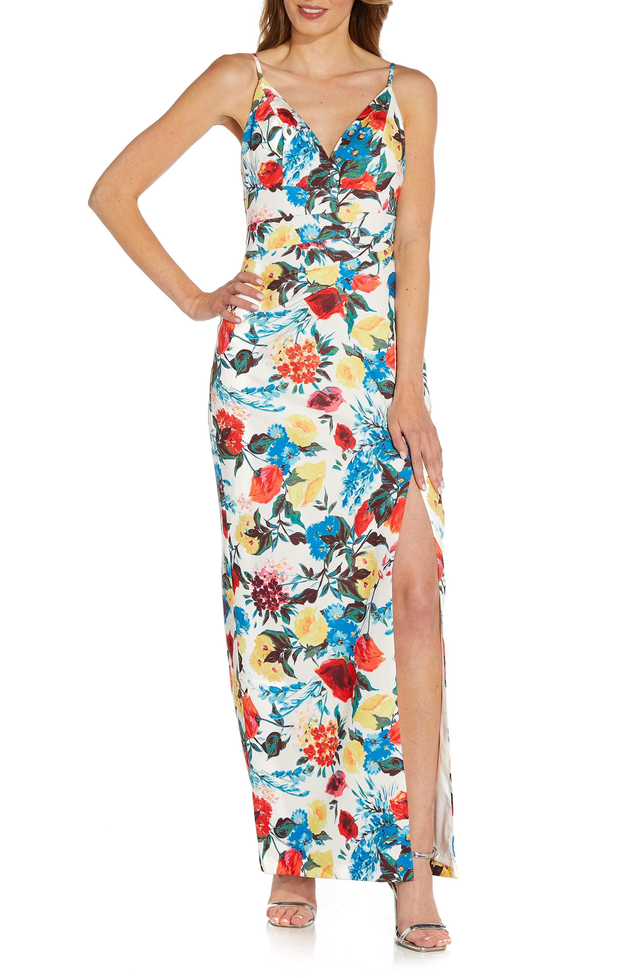 Print Crepe Evening Gown