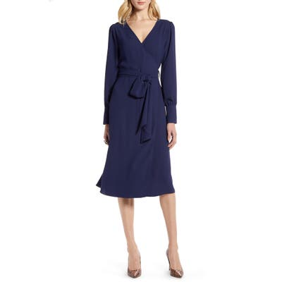 Halogen Long Sleeve Wrap Midi Dress, Blue