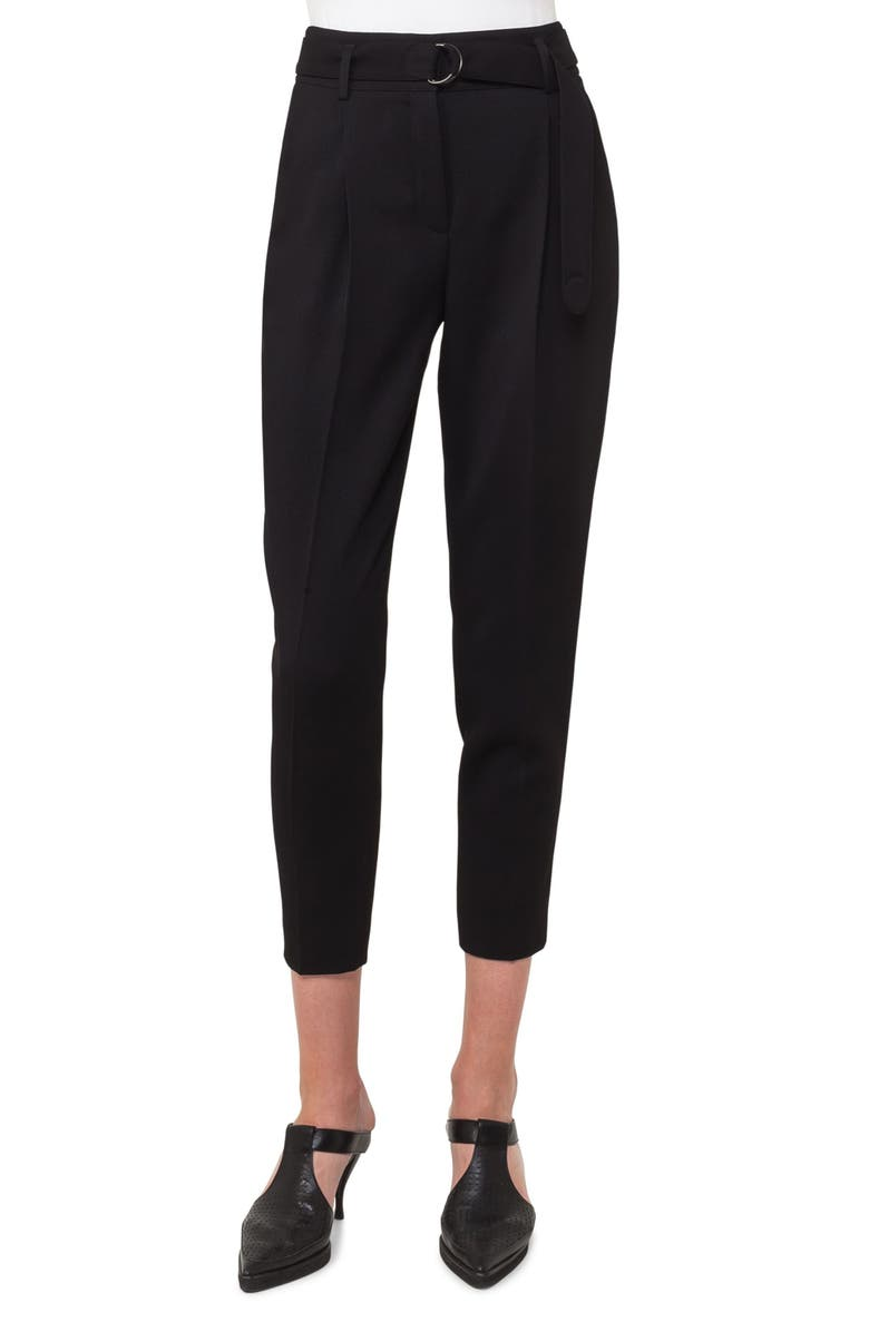AKRIS PUNTO Fred Wool Gabardine Crop Pants, Main, color, BLACK
