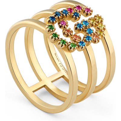 Gucci Double G Multi Stone Three-Row Ring