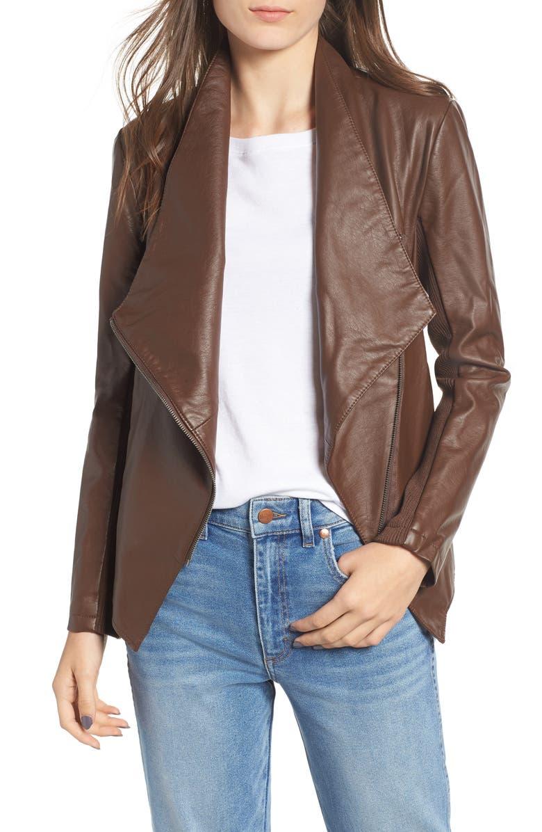 BB DAKOTA Gabrielle Faux Leather Asymmetrical Jacket, Main, color, 202