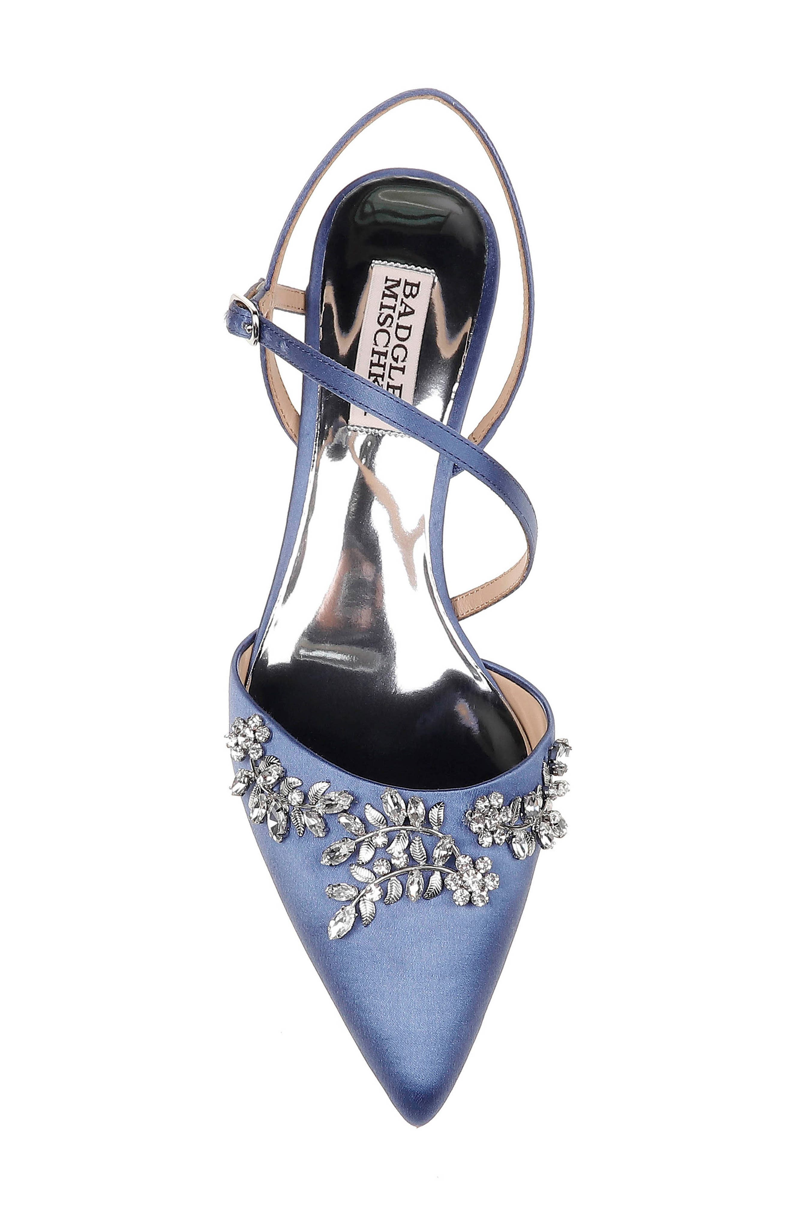 ,                             Badgley Mischka Crystal Embellished Quarter Strap Pump,                             Alternate thumbnail 5, color,                             ITALIAN BLUE SATIN