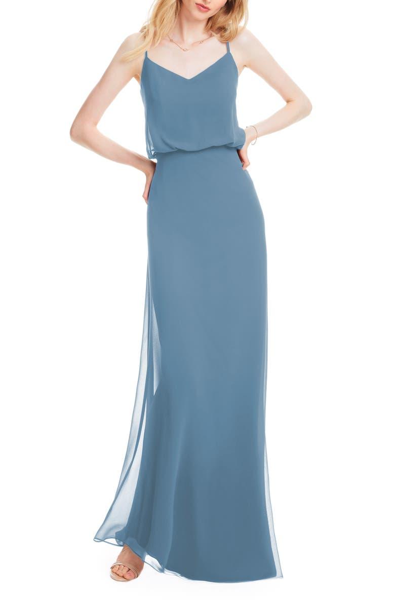 #LEVKOFF Spaghetti Strap Chiffon Gown, Main, color, SLATE