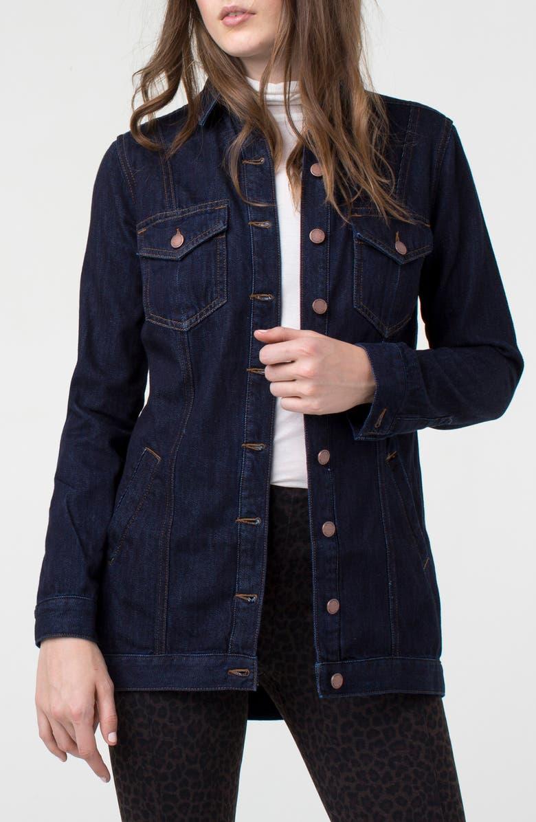 LIVERPOOL High/Low Denim Jacket, Main, color, 402