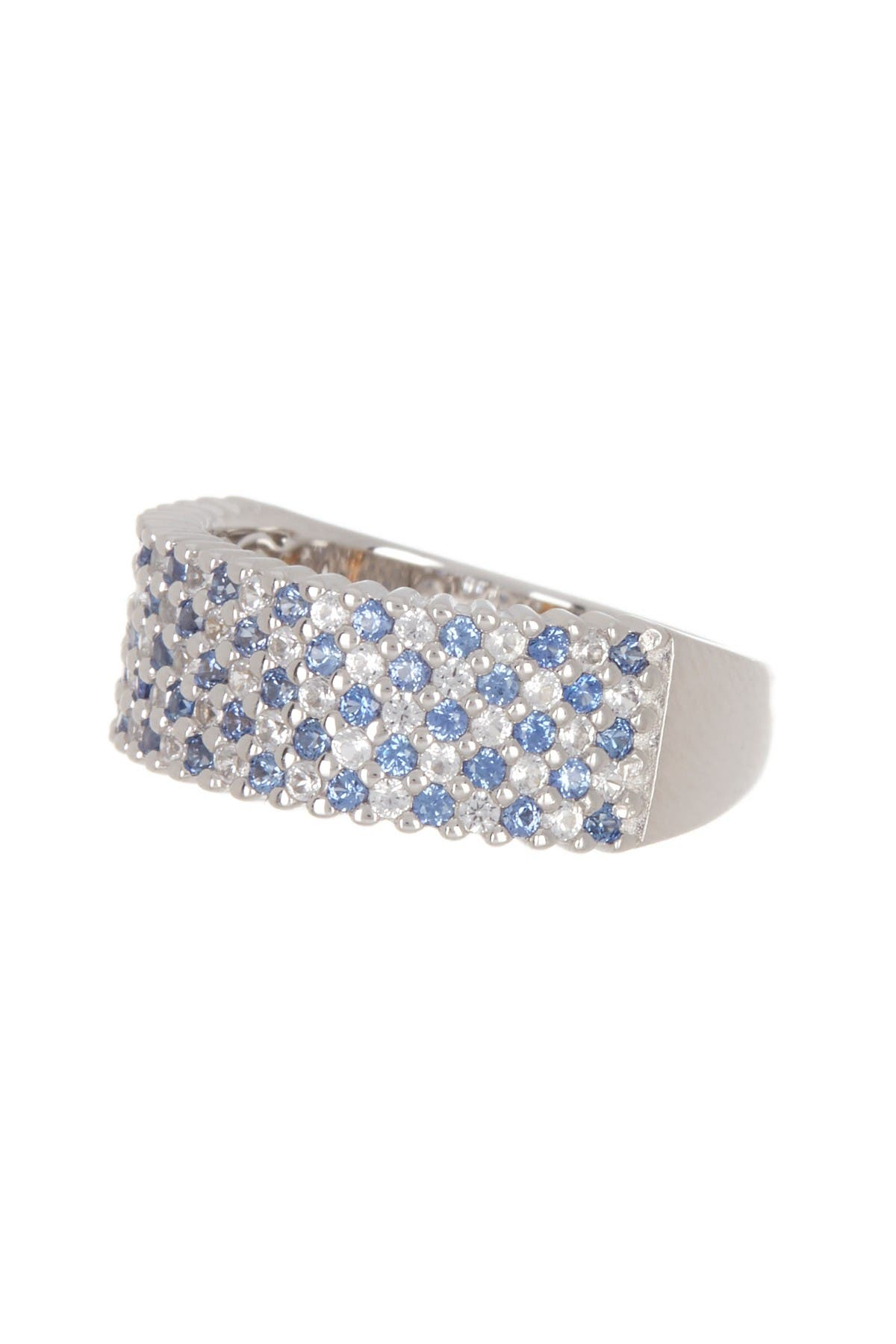 Image of Suzy Levian Sterling Silver Pave Sapphire & Diamond Accent Eternity Band Ring
