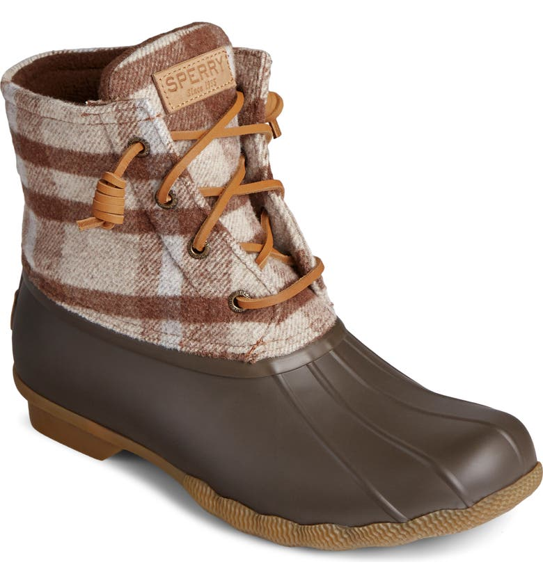 SPERRY Saltwater Rain Boot, Main, color, BROWN/ OAT WOOL
