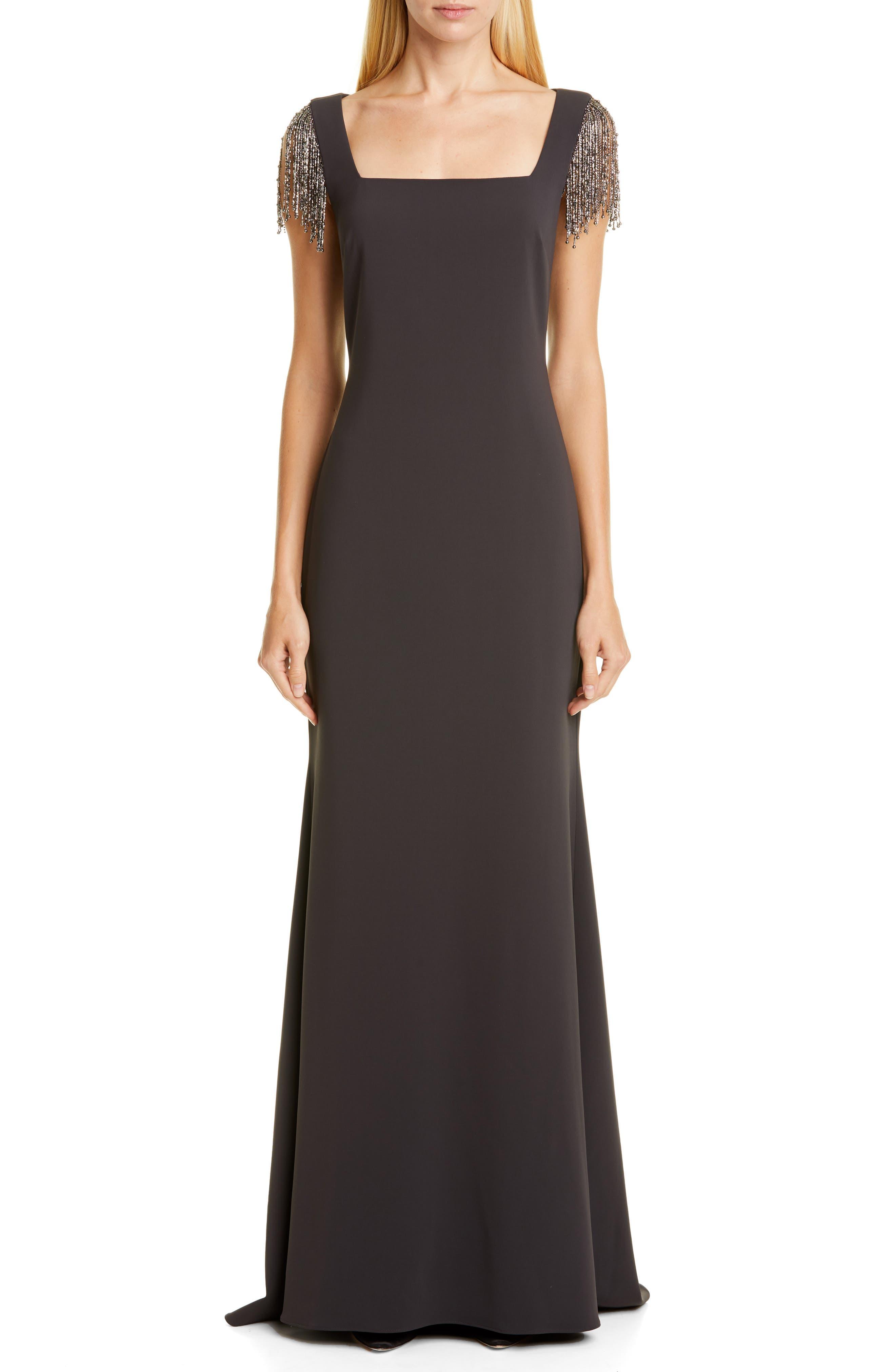 Badgley Mischka Embellished Sleeve Gown, Grey