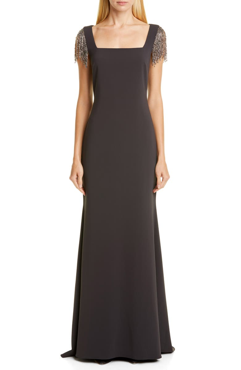 BADGLEY MISCHKA COLLECTION Badgley Mischka Embellished Sleeve Gown, Main, color, CHARCOAL
