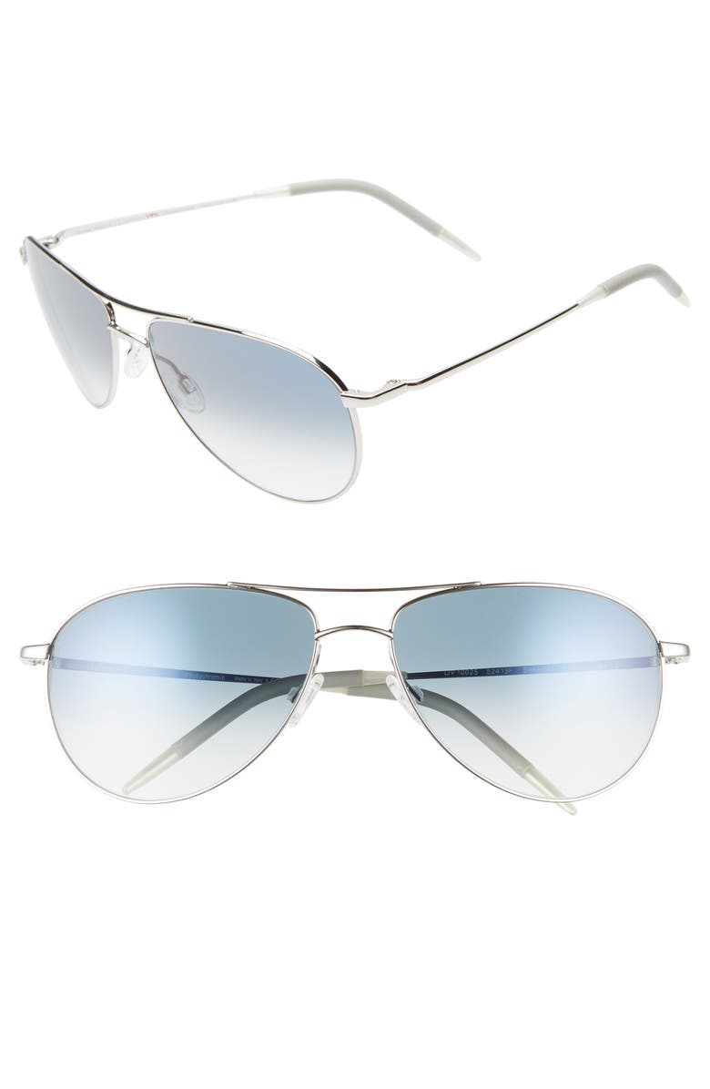 OLIVER PEOPLES Benedict 59mm Gradient Aviator Sunglasses, Main, color, SILVER