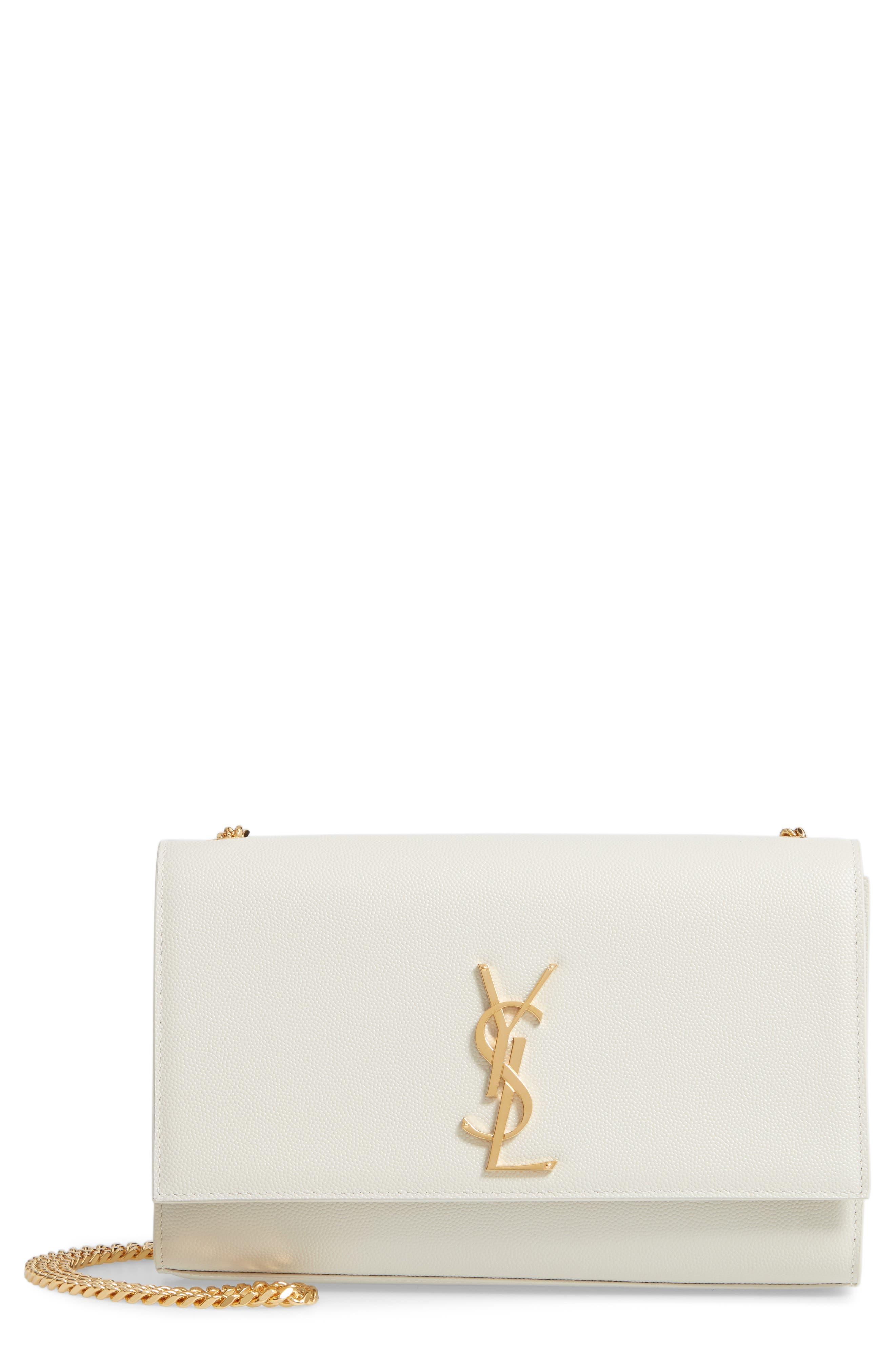 ,                             'Medium Kate' Leather Chain Shoulder Bag,                             Main thumbnail 1, color,                             CREMASOFT
