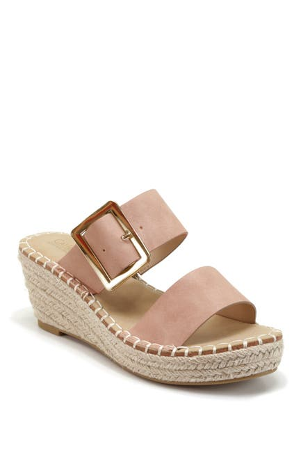 Image of Catherine Catherine Malandrino Buckles Espadrille Wedge Slide Sandal