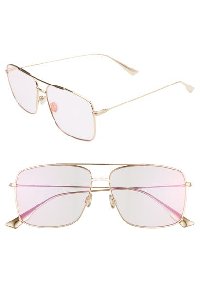 Dior Stello3s 57mm Square Aviator Sunglasses In Rose Gold/ Violet
