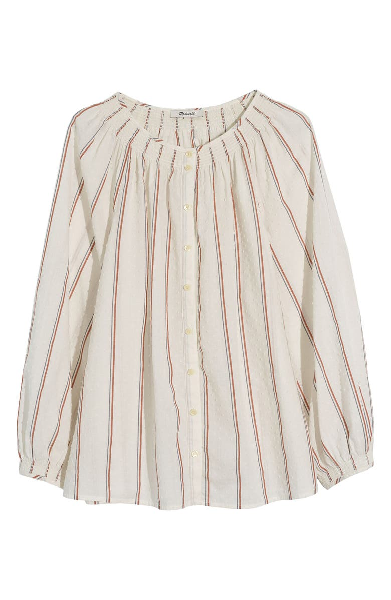 MADEWELL Smocked Neck Clip Dot Stripe Raglan Top, Main, color, RUST STRIPE AFTERGLOW RED