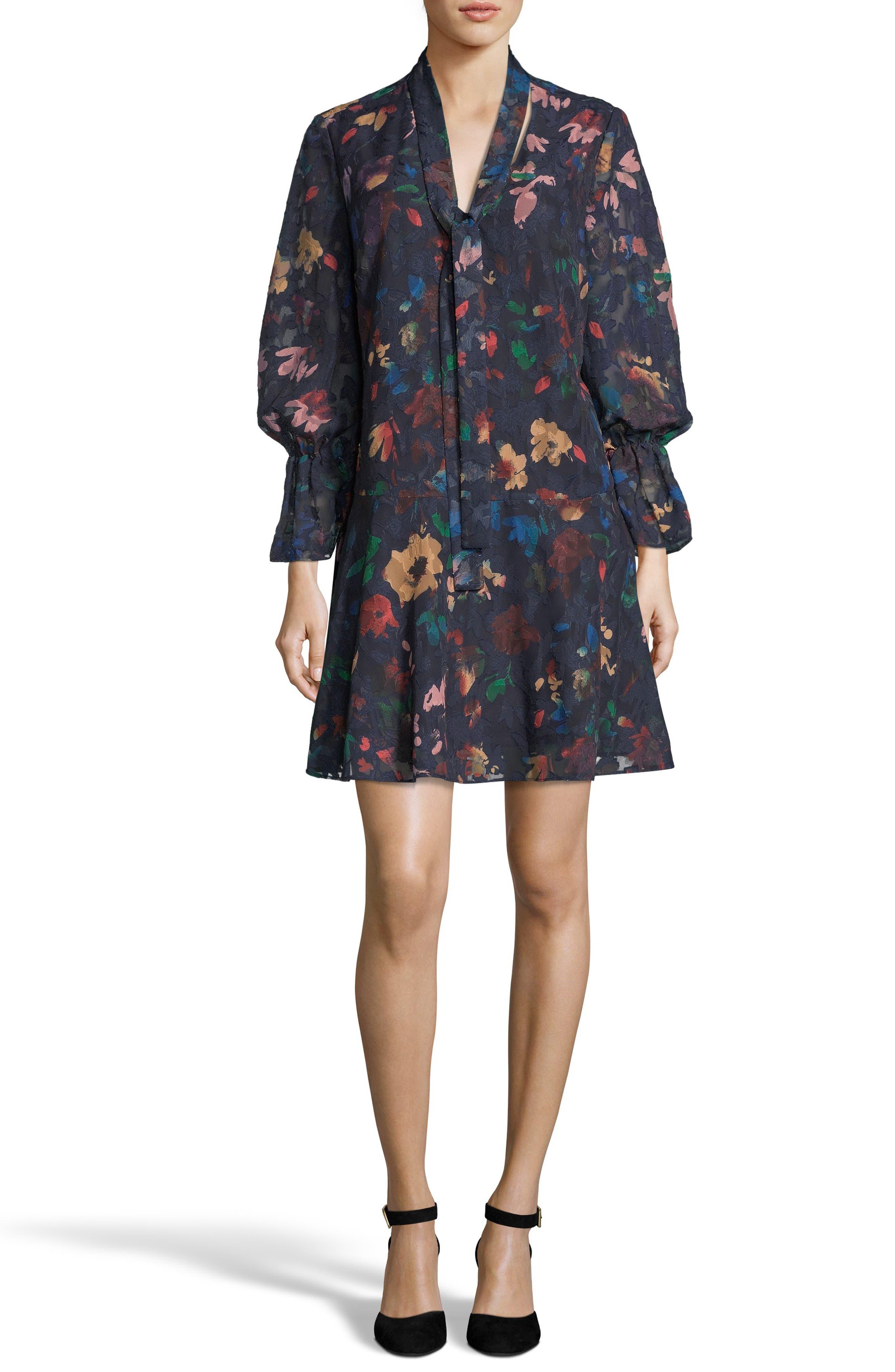 Burnout Jacquard Shift Dress, Main, color, BLUE/ MULTI