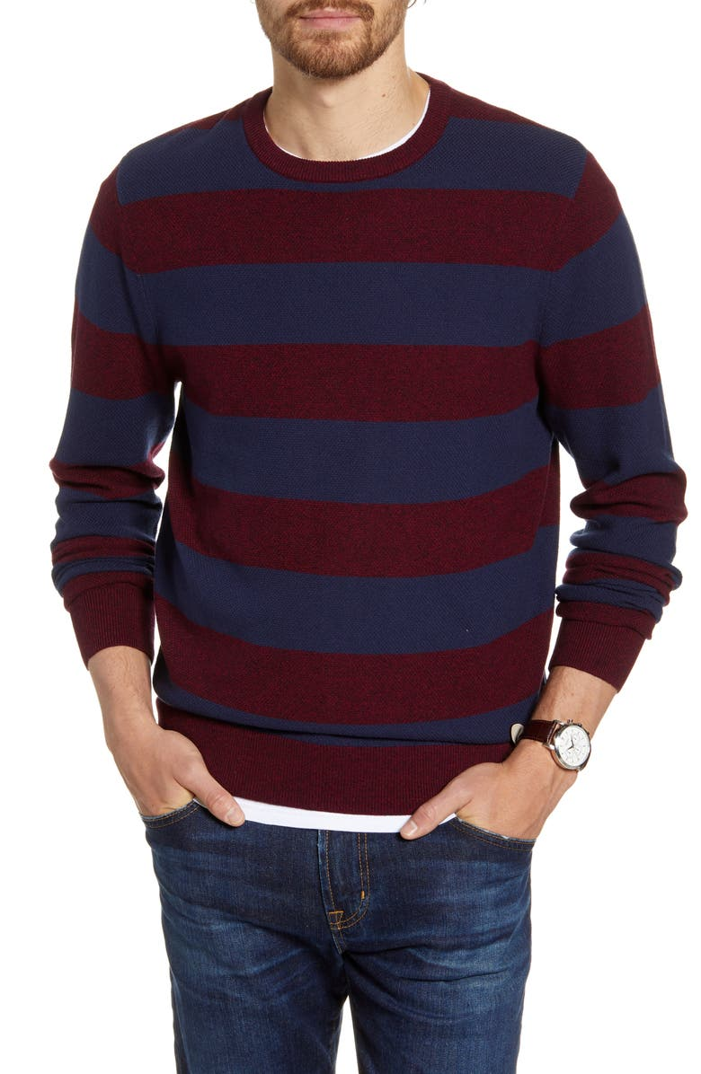 1901 Stripe Crewneck Sweater, Main, color, NAVY IRIS MARLED STRIPE