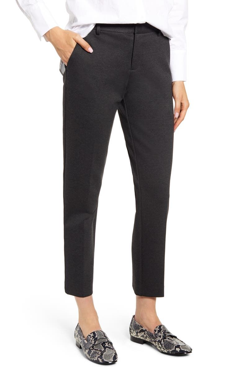 VINCE CAMUTO Slim Leg Tech Ponte Ankle Pants, Main, color, DARK HEATHER GREY