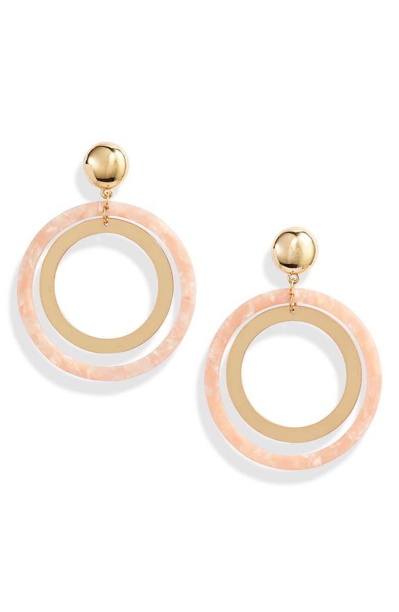 ETTIKA Double Ring Hoop Earrings, Main, color, PINK/ GOLD