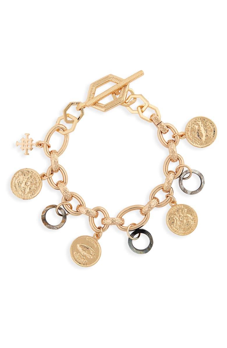 AKOLA Abalone & Horn Charm Bracelet, Main, color, BLACK