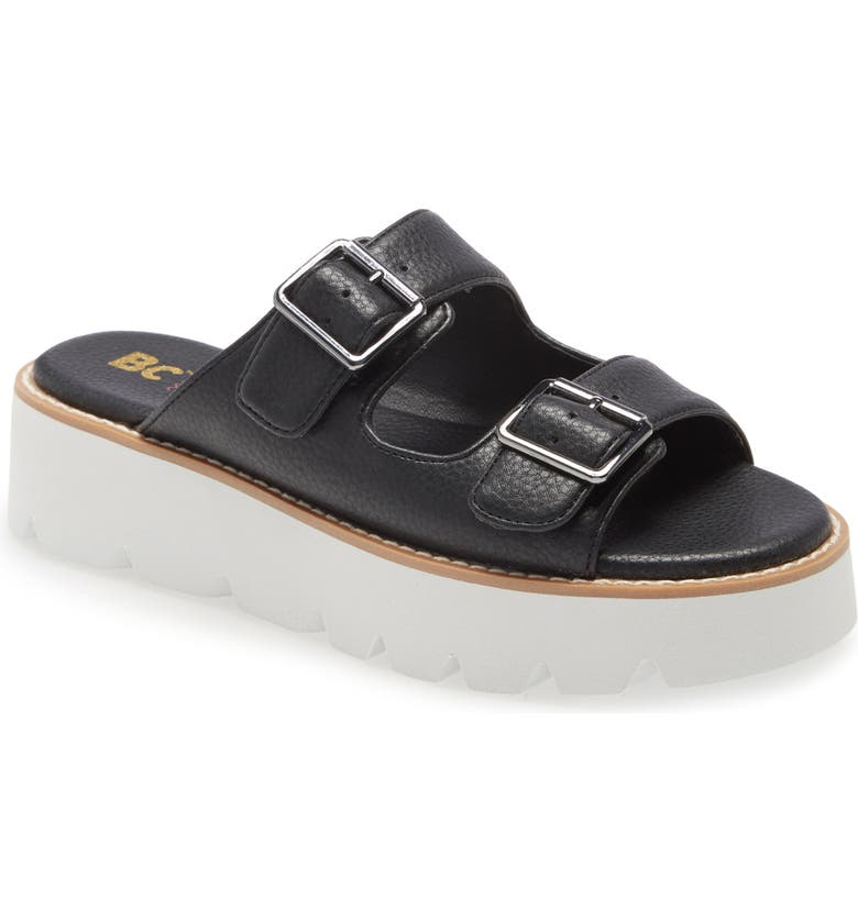 BC FOOTWEAR Hand To Hold Platform Sandal, Main, color, BLACK FAUX LEATHER