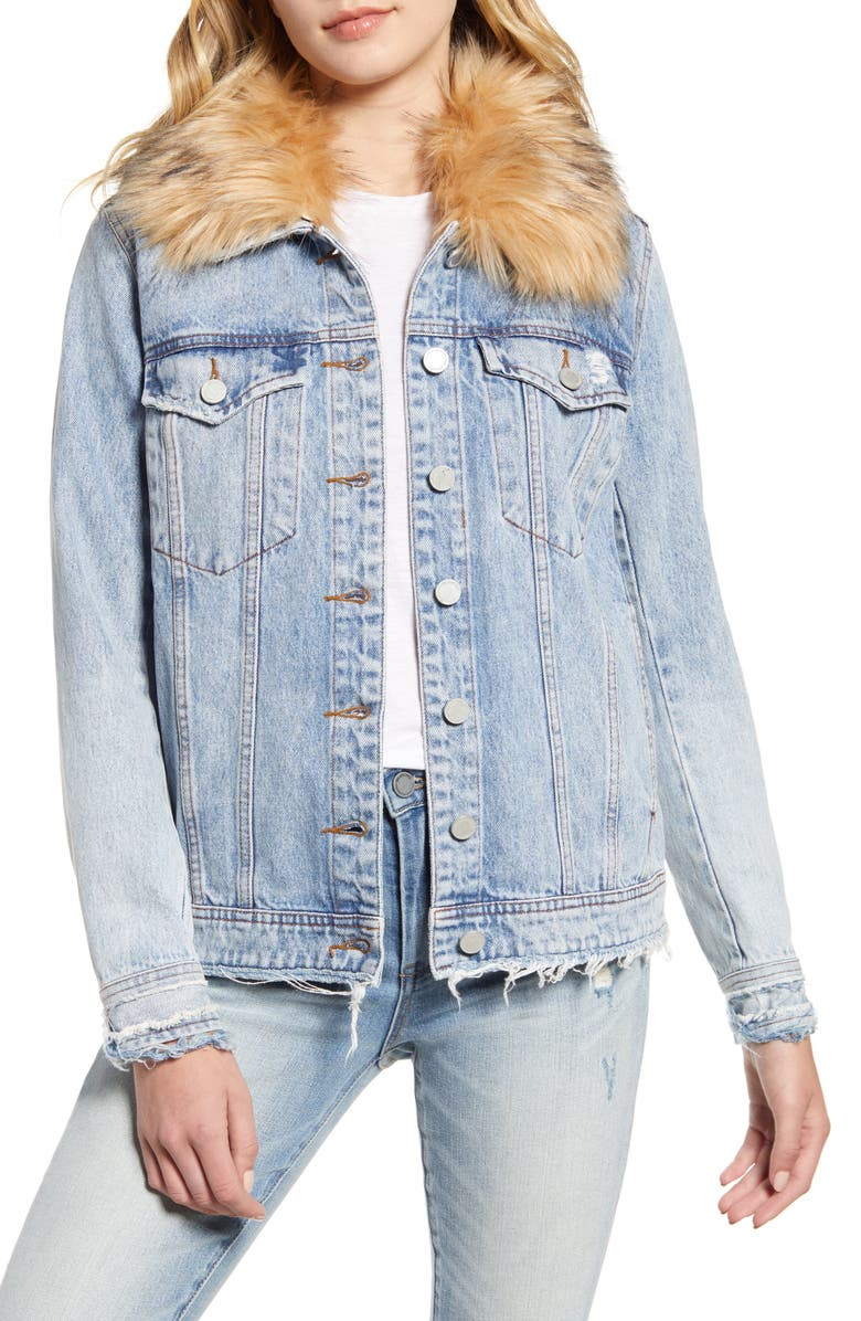 BLANKNYC Removable Faux Fur Collar Denim Trucker Jacket, Main, color, 405