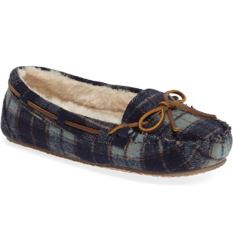 MINNETONKA Cally Plaid Faux Fur Lined Slipper, Main, color, 400