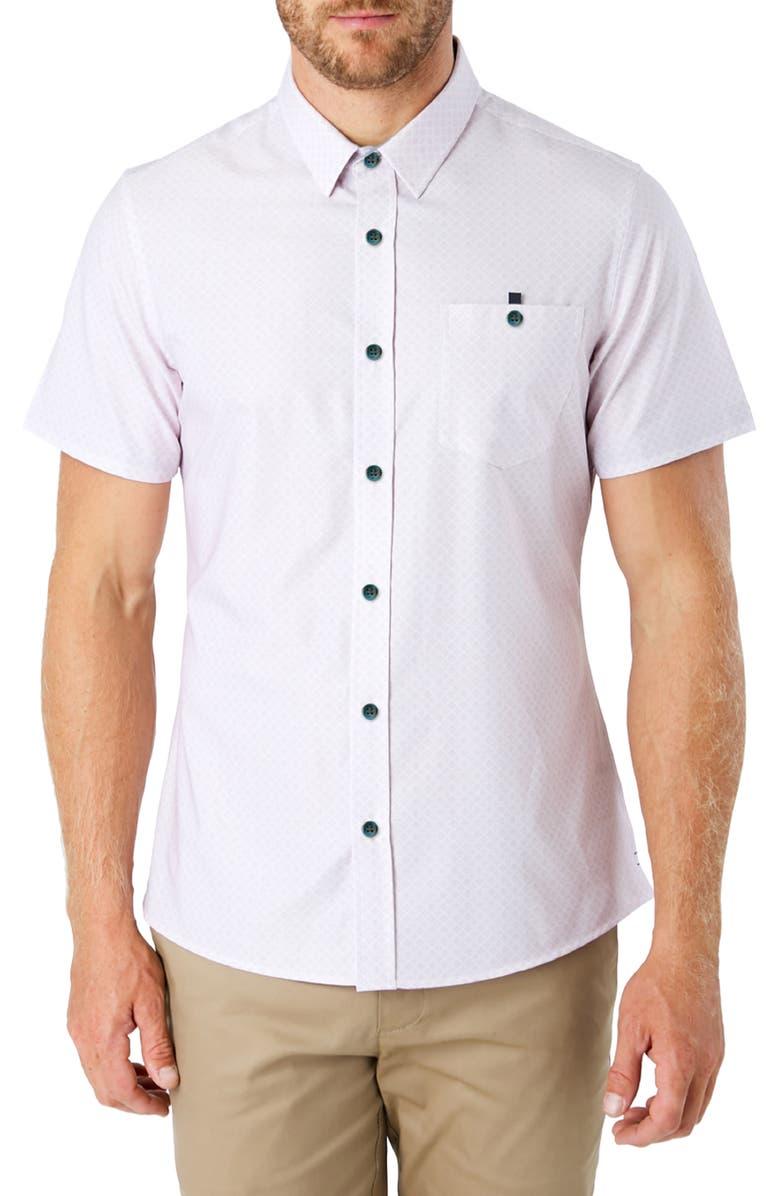7 DIAMONDS Feel It Still Slim Fit Diamond Print Short Sleeve Button-Up Shirt, Main, color, RED