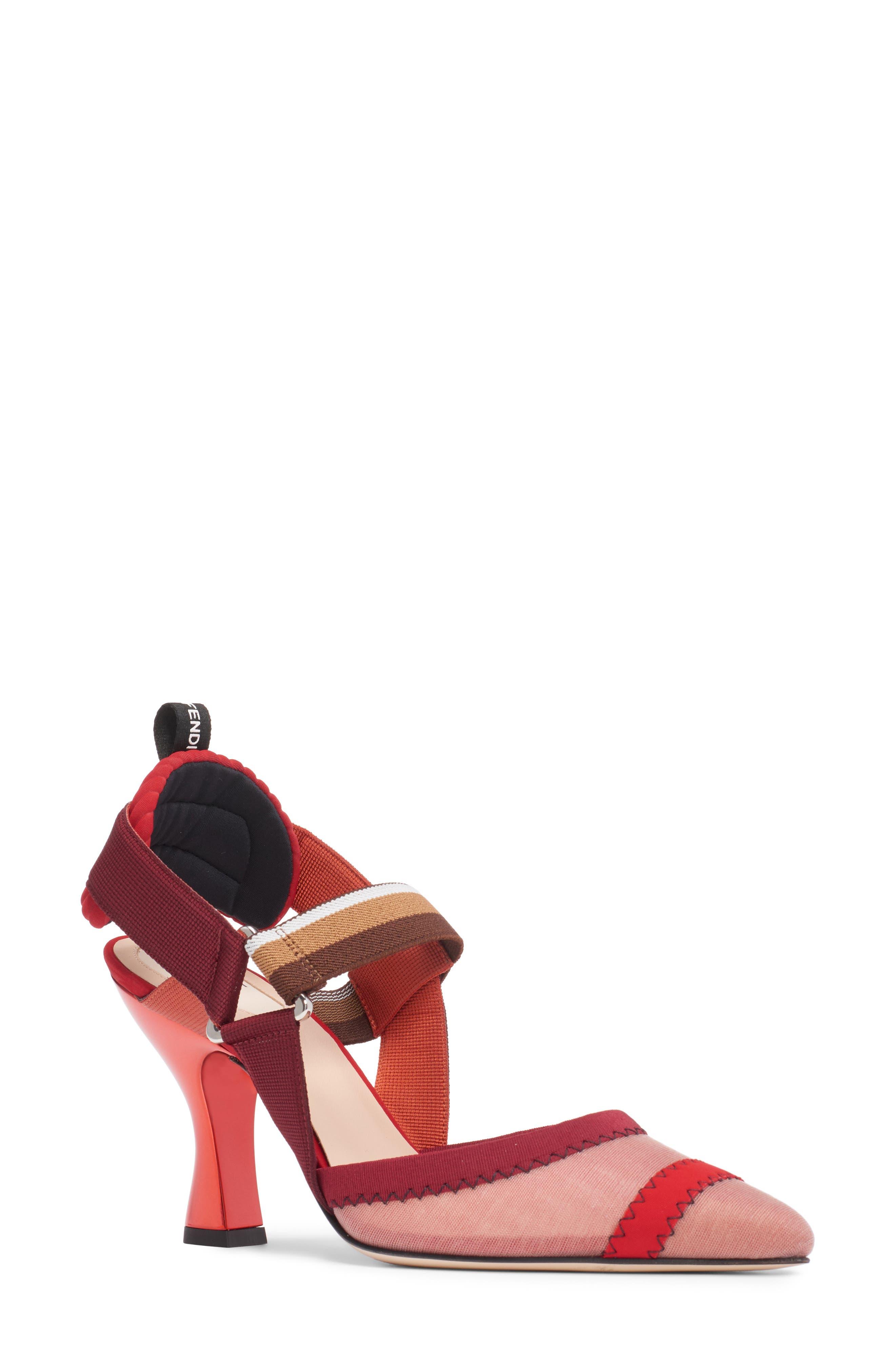 Fendi Colibri Mesh Slingback Pump - Red