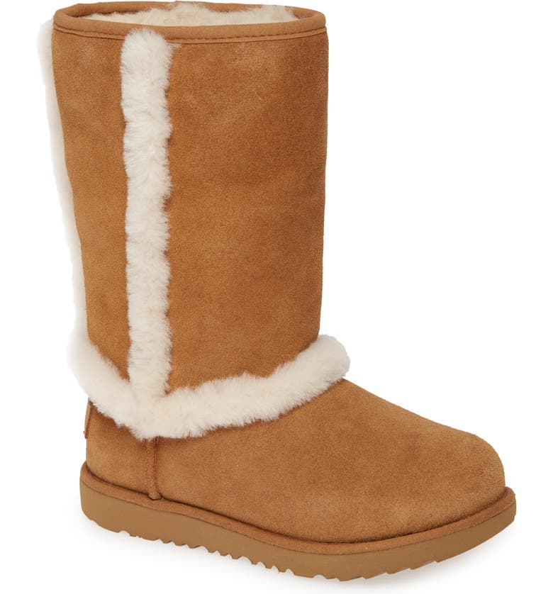 UGG<SUP>®</SUP> Hadley II Genuine Shearling Trim Waterproof Boot, Main, color, CHESTNUT