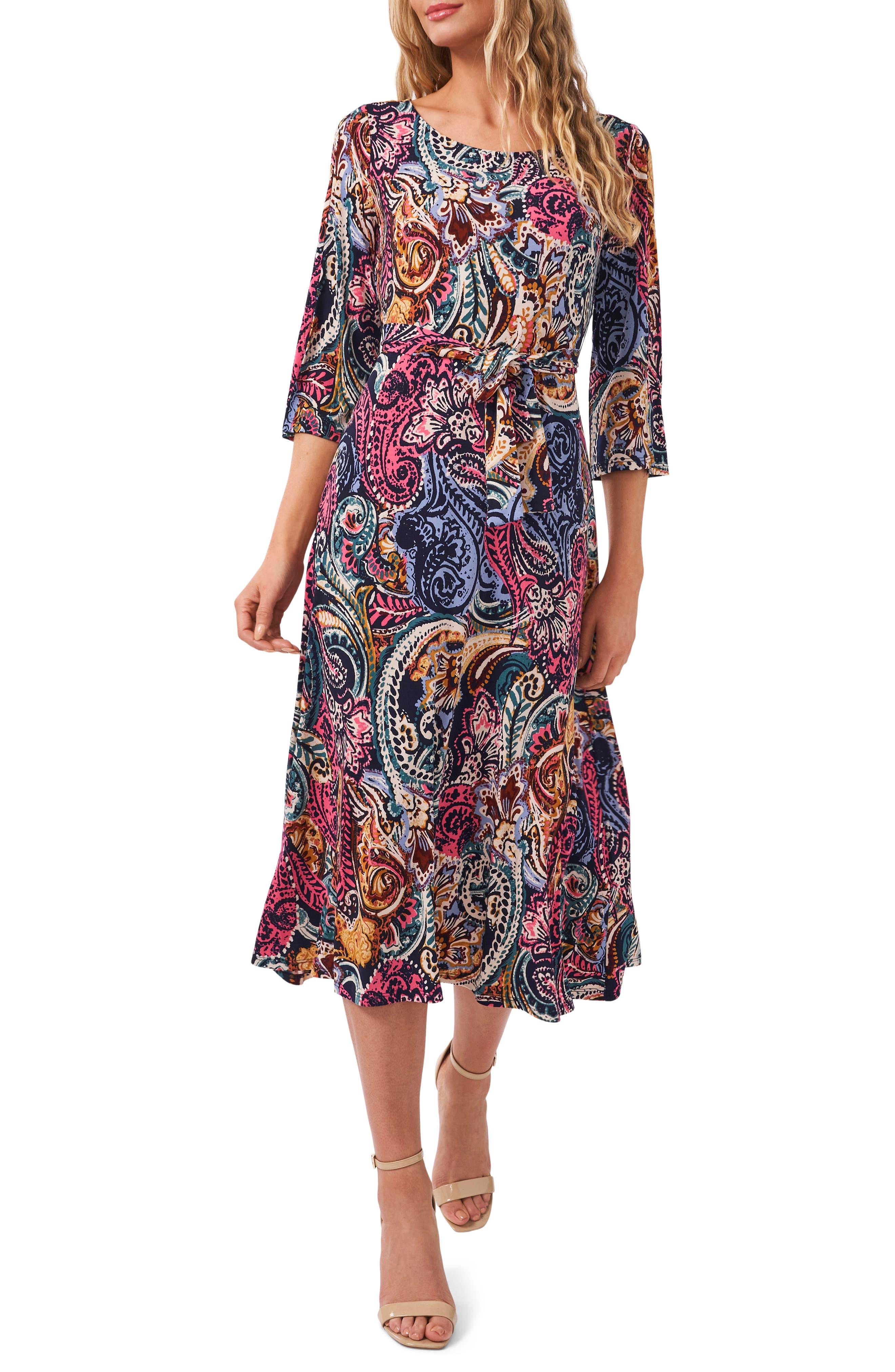 Belted Split Sleeve Midi Dress