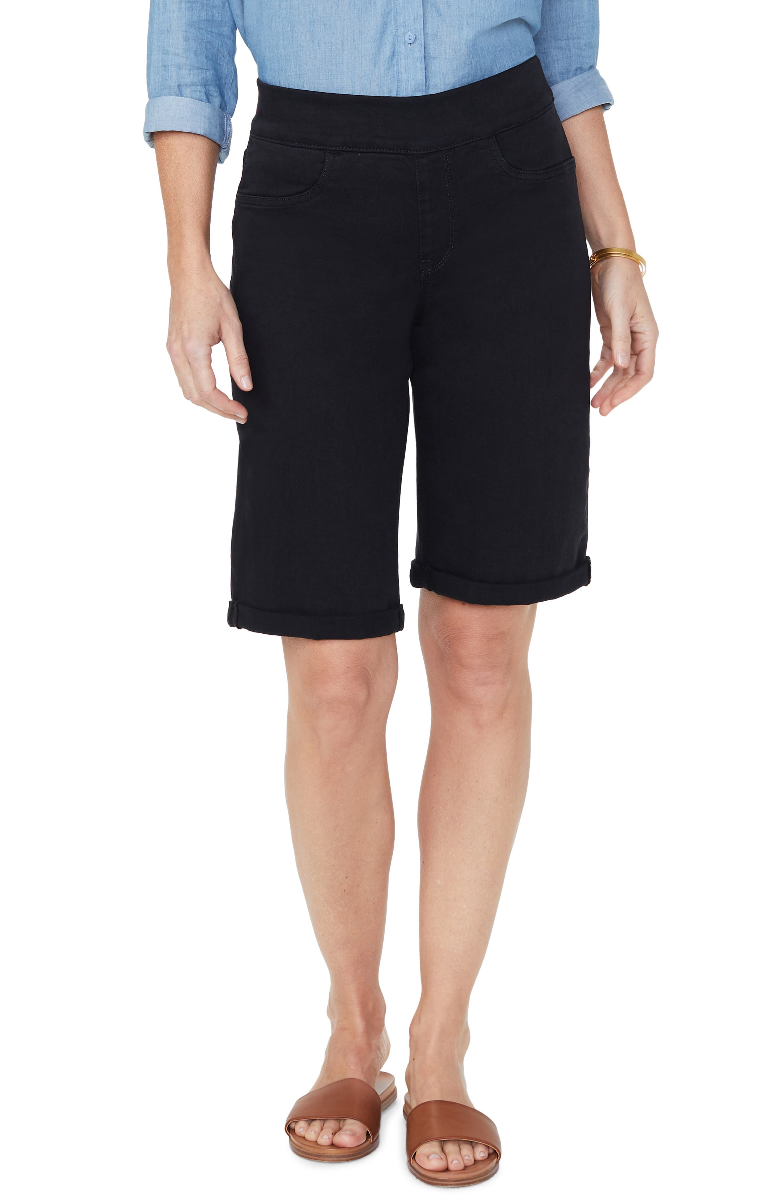 Image of NYDJ Pull-On Rolled Bermuda Shorts