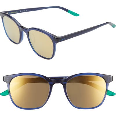 Nike Clincher 50Mm Mirrored Sunglasses - Midnight Navy/ Gold