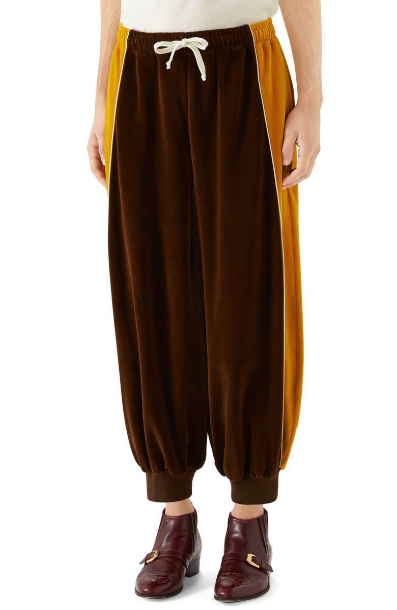2513760f7 Colorblock Velour Track Pants, Main, color, CHOCOLATE ZEST MULTICOLOR