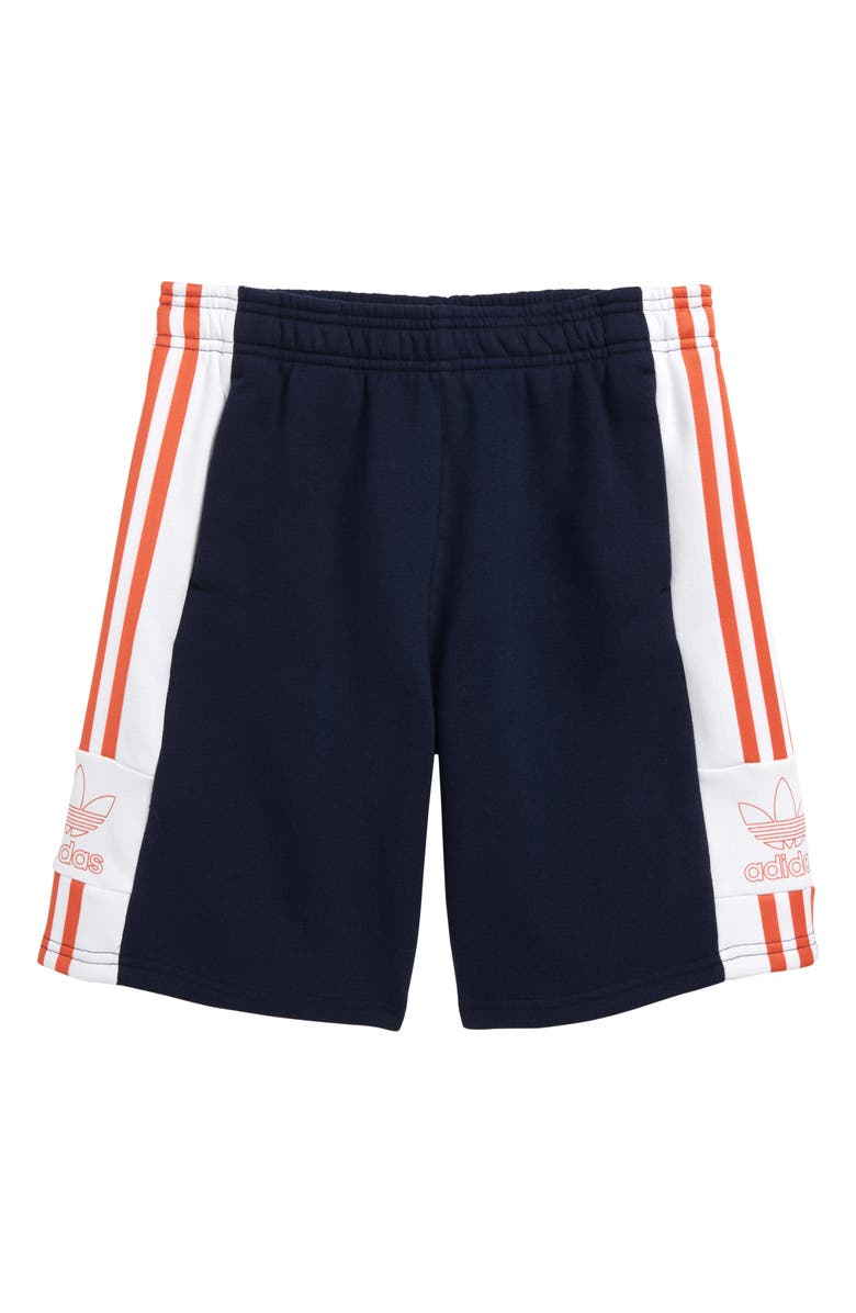 ADIDAS ORIGINALS Outline Trefoil Fleece Shorts, Main, color, COLLEGIATE NAVY/ WHITE