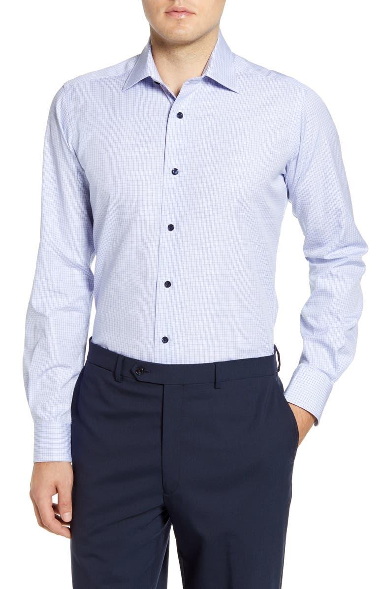 DAVID DONAHUE Trim Fit Check Dress Shirt, Main, color, NAVY/ SKY