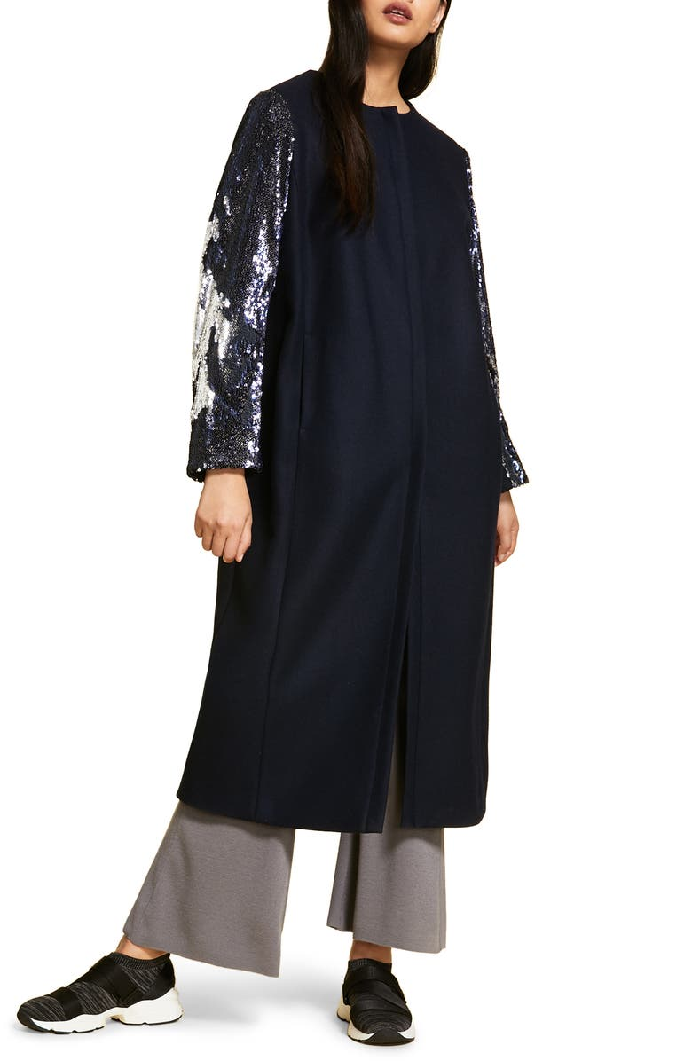 MARINA RINALDI Tennis Sequin Sleeve Coat, Main, color, NAVY