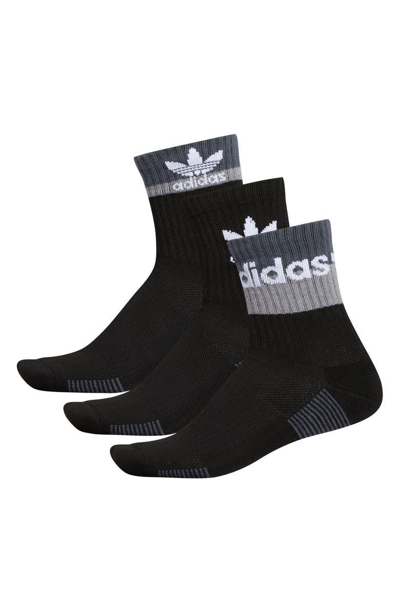 ADIDAS ORIGINALS Double Blocked 3-Pack Socks, Main, color, BLACK/ ONIX/ LIGHT ONIX/ WHITE