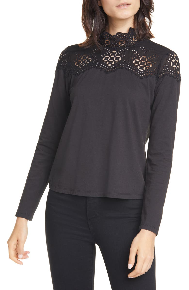 LA VIE REBECCA TAYLOR Eyelet Yoke Cotton Jersey Top, Main, color, BLACK