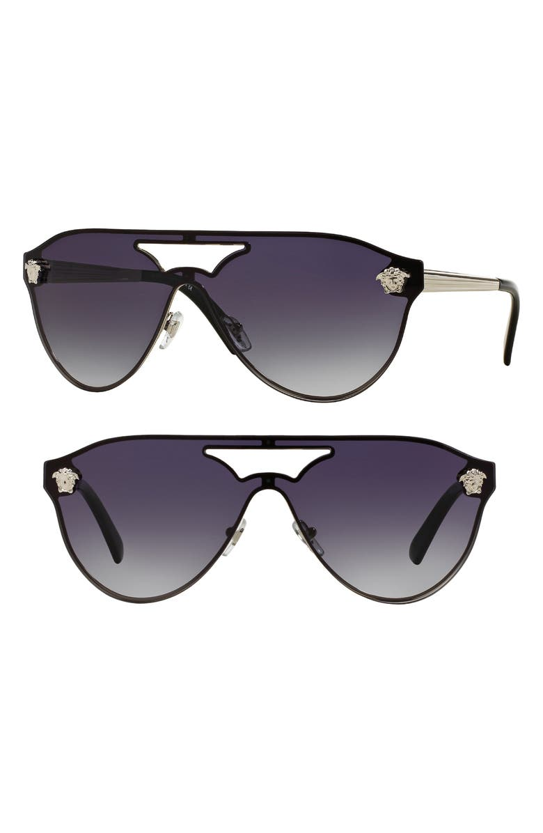 VERSACE 60mm Shield Mirrored Sunglasses, Main, color, 042
