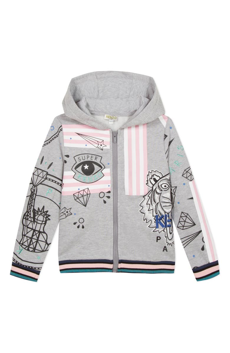 KENZO Mixed Logo Graphic Zip Hoodie, Main, color, GREY