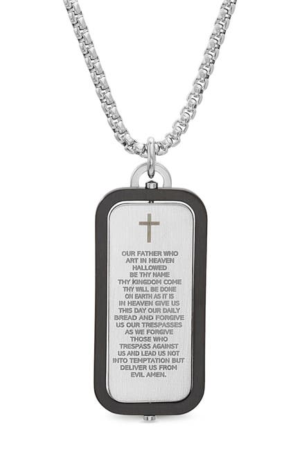 Image of Steve Madden Reinforcements Black IP Stainless Steel Cross Pendant Box Chain Necklace