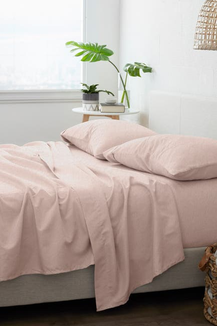 Image of IENJOY HOME Home Collection Premium 4-Piece King Ultra Soft Flannel Bed Sheet Set - Blush