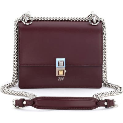 Fendi Small Kan I Leather Bag - Burgundy