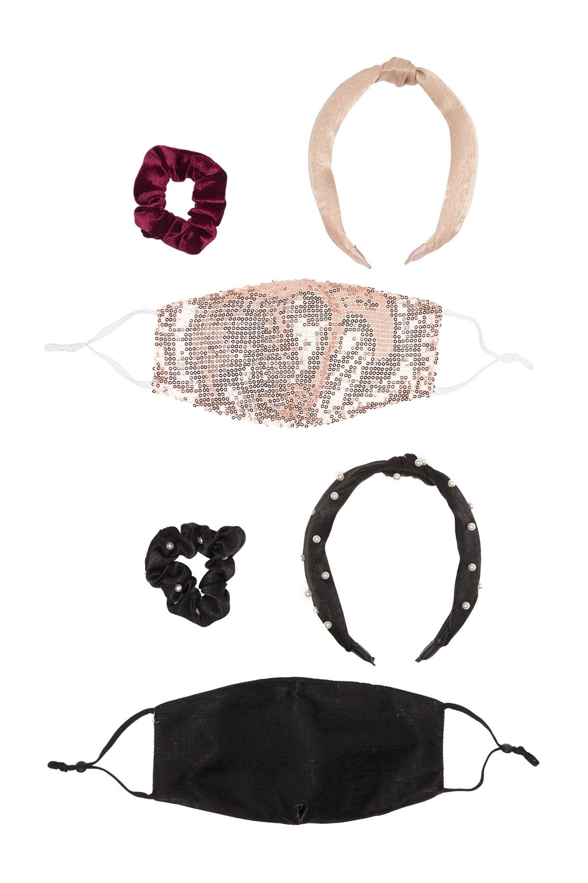 Image of CAPELLI OF NEW YORK Face Mask & Hair Accessory 6-Piece Set