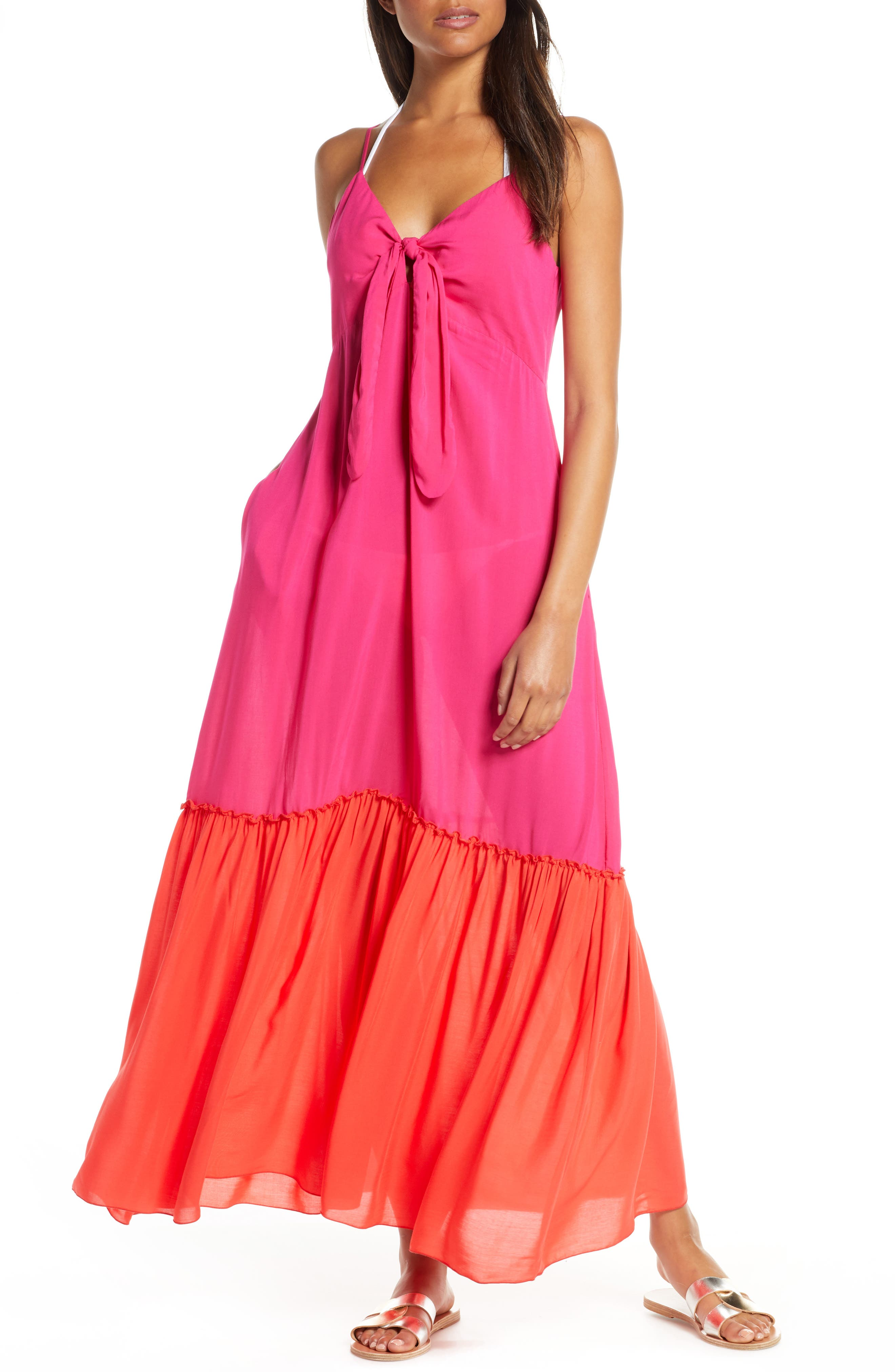 Elan Colorblock Cover-Up Maxi Dress (Nordstrom Exclusive)