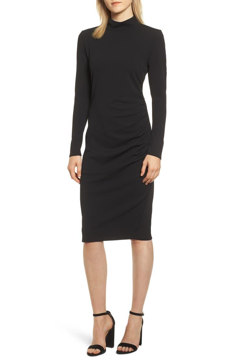 CHELSEA28 Mock Neck Body-Con Dress, Main, color, BLACK